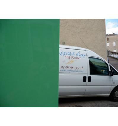 """verre """"S"""" opaline vert clair doux unie compatible fusing"""