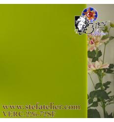 """Verre """"S"""" vert herbe jaune opaque 30x30cm"""
