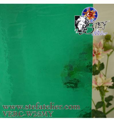 "Verre ""W"" cathédrale mystic 25 vert turquoise moyen 26x27cm"