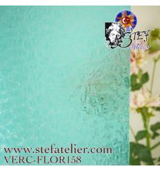 "Verre ""W"" Florentine  turquoise 158  27x26cm"