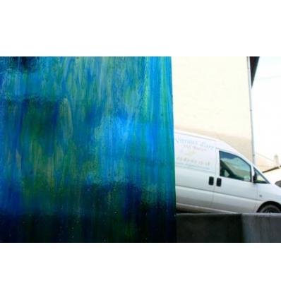 "verre ""W"" bleu vert 35x27cm"
