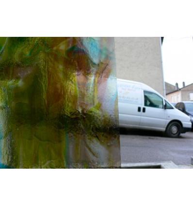 "Verre ""W"" vert bleu violet jaune 33x27cm"