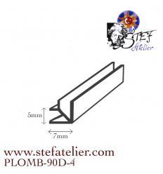 Plomb Lanterne Vitrail 90  degrés environ 4x45cm