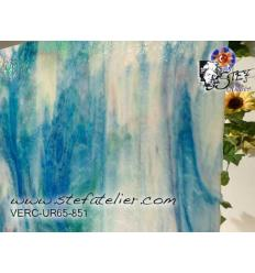 """Verre """"UR"""" Uroboros bleu foncé vert rose et opaline 30x30cm"""
