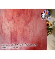 "Verre ""YO"" rose et opaline  30x30cm"