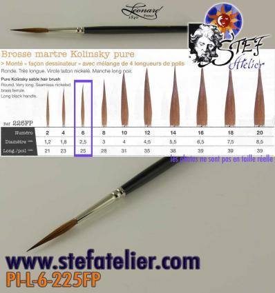 pinceau à trait 225 N°6 en martre naturelle longueur de poils 25mm