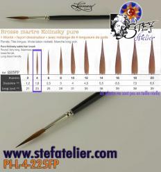 pinceau à trait N°4 en martre naturelle longueur des poils  22mm environ