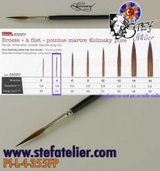 pinceau à trait 355 N°4 en martre naturelle longueur des poils  20mm environ