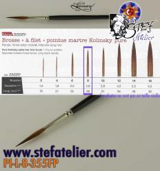 pinceau à trait 355 N°8 en martre naturelle longueur des poils  28mm environ