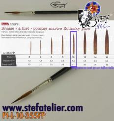 pinceau à trait 355 N°10 en martre naturelle longueur des poils  30mm environ