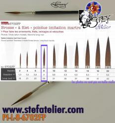 pinceau à trait 6702 N°8 en imitation martre longueur des poils  28mm environ