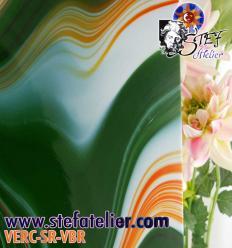 "Verre ""S"" Vert blanc rouge compatible fusing S96 30x30cm"