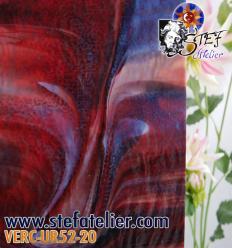 """Verre """"UR"""" rouge et opaline chenillé 30x30cm"""