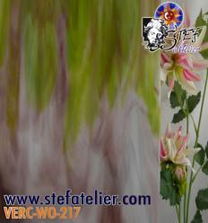 """Verre """"W"""" lilas et vert herbe et opaline 27x27cm"""