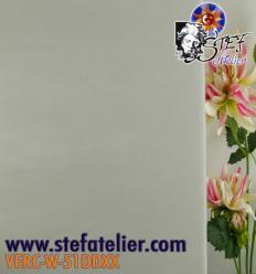 """Verre """"W"""" blanc clair nuageux opaline 27x27cm"""