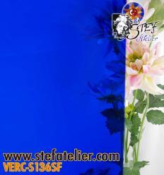 """Verre """"S"""" bleu foncé  uni compatible fusing S96 30x30cm"""
