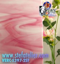 """Verre """"S"""" Rose et opaline blanche compatible Fusing S96 30x30cm"""