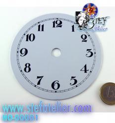Cadran horloge métal laqué blanc 10cm diamètre