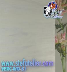 """Verre vitrail """"W"""" blanc opaline et transparent 35x27cm"""