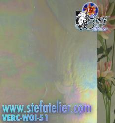 """verre """"W"""" opaline et transparent Irisé 35x27cm"""
