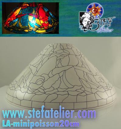 Gabarit en fibre et plan pour minilampe tiffany poisson 20cm diam