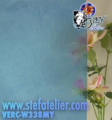 "Verre ""W"" Mystic bleu turquoise clair 26x26cm"