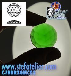 cabochon rond à facettes de 30mm couleur vert