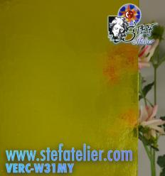 "Verre ""W"" cathédrale Mystic jaune vif 27x26cm"