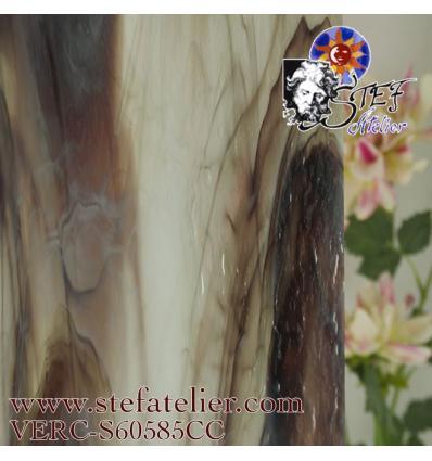 "Verre ""S"" brun rouge et opaline 30x30cm"