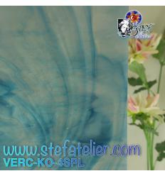 "Verre ""KO"" bleu lagon et opaline 27x27cm"