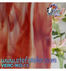 "Verre ""W"" rouge et blanc 26x27cm"