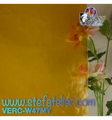 "Verre ""W"" jaune moyen cathédrale mystic 27x26cm"