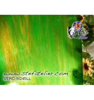 """Verre """"W"""" vert & jauneambre 35x27cm"""