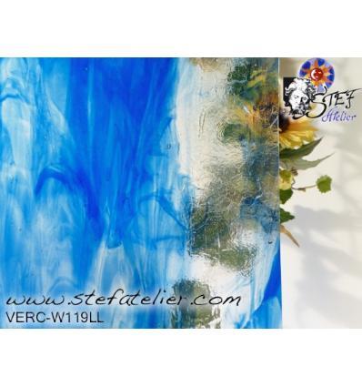 """Verre """"W"""" bleu et clair 27x35cm"""