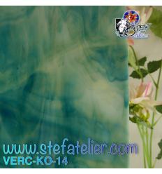 """Verre """"KO"""" bleu ambre et opaline 26x27cm"""
