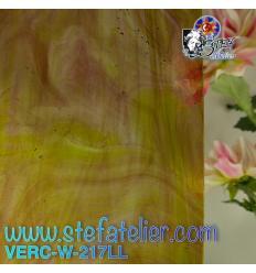 """Verre """"W"""" vert et lilas transparent 26x27cm"""