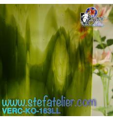 """verre """"KO"""" vert-jaune transparent 26x27cm"""