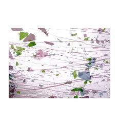 """Verre """"BU"""" feuilles vertes lignes roses 25x28cm"""
