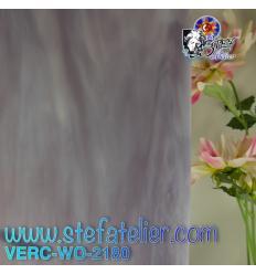 """Verre """"W"""" violet et opaline demie translucide 26x27cm"""