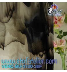 """Verre """"BU"""" blanc et noir sur transparent 29x25cm"""