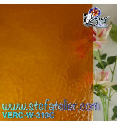 """Verre """"W"""" Cathédrale Corella Jaune ambre 310 26x27cm"""