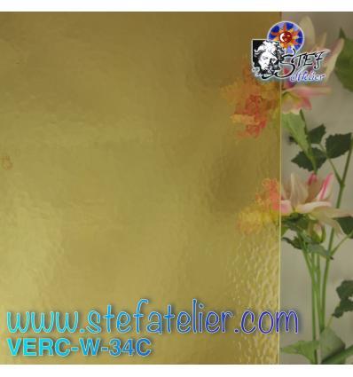 """Verre """"W"""" Cathédrale Corella jaune ambre 34  26x27cm"""