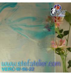"""Verre """"W"""" bleu sur transparent fusing S96 26x27cm"""