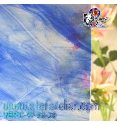 """Verre """"W"""" bleu 30 sur transparent fusing S96 26x27cm"""
