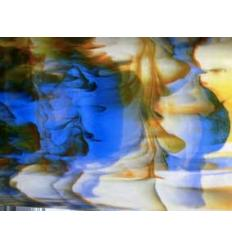 """Verre """"UR"""" bleu orange vert et blanc opaline 30x30cm"""