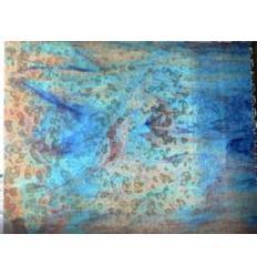 "Verre ""UR"" bleu océan rose 30x30cm"
