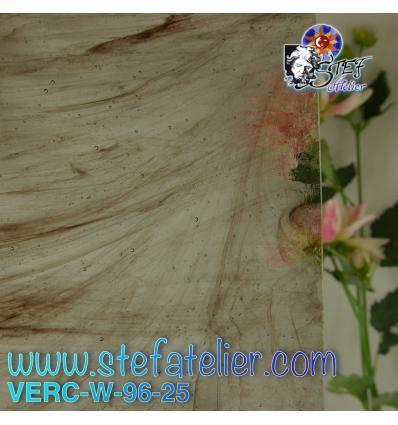 """Verre """"W"""" brun et transparent compatible fusing S96 26x26cm"""