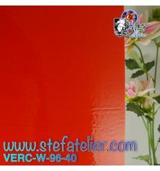"""Verre """"W"""" Rouge Orangé opalescent compatible Fusing S96 26x27cm"""