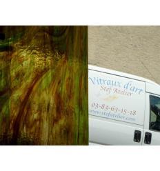 """Verre """"W"""" vert et ambre foncé  35x27cm"""