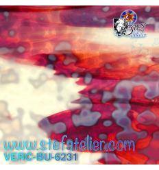 "Verre ""BU"" rouge et opaline 29x25cm"